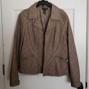 Alfani Gray/Brown Faux Leather Jacket